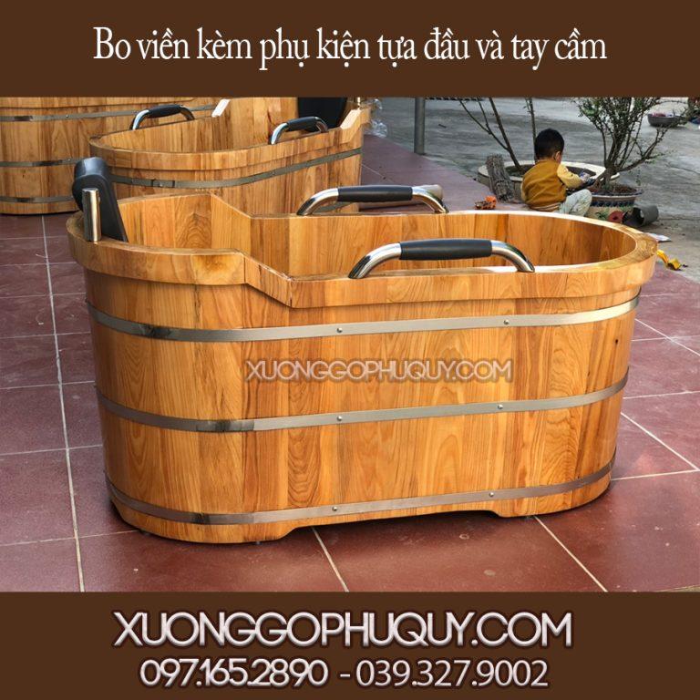 bồn tắm gỗ kèm phụ kiện tựa dầu và tựa tay