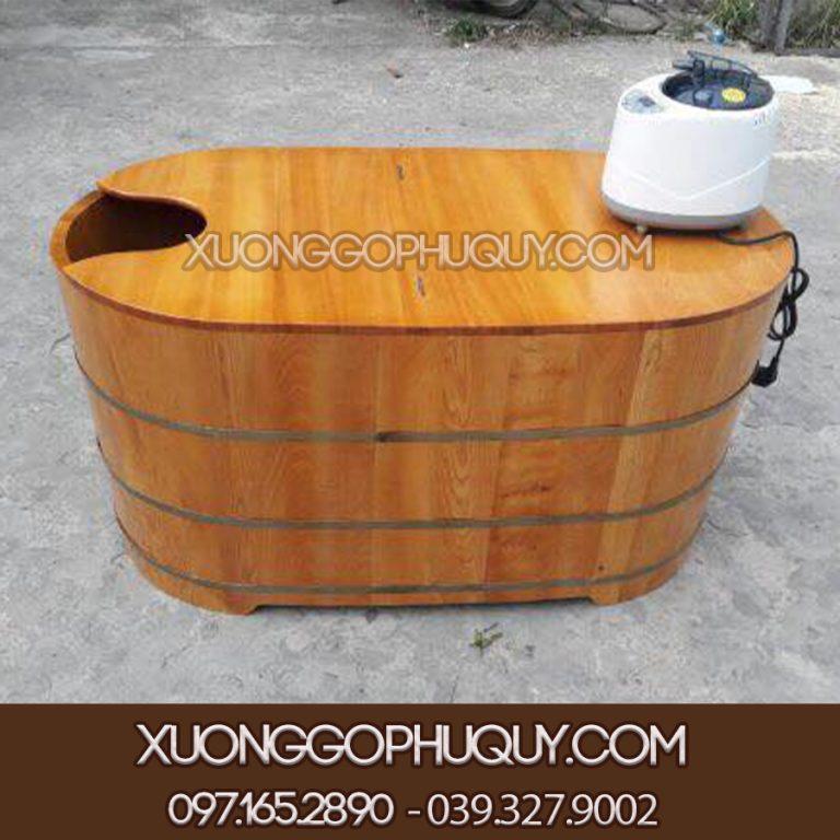 bồn tắm gỗ kèm máy xông hơi