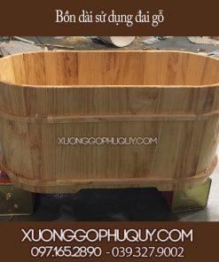 Bồn tắm gỗ dài đai gỗ