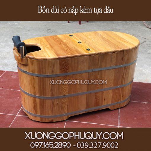 Bồn tắm gỗ dài kèm nắp và tựa đầu
