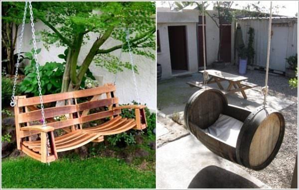 Xích đu được làm từ thùng rượu gỗ sồi